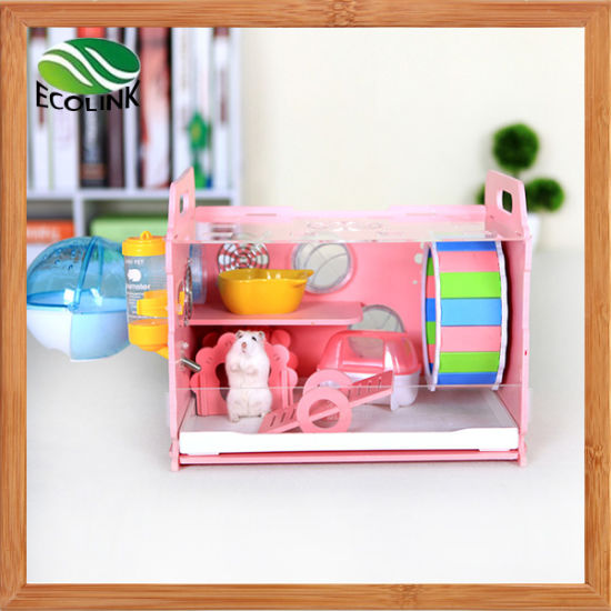 Eco Board Small Animals Single Cage with Decoration Small Animal Habitat for Gerbil Hamsters pictures & photos