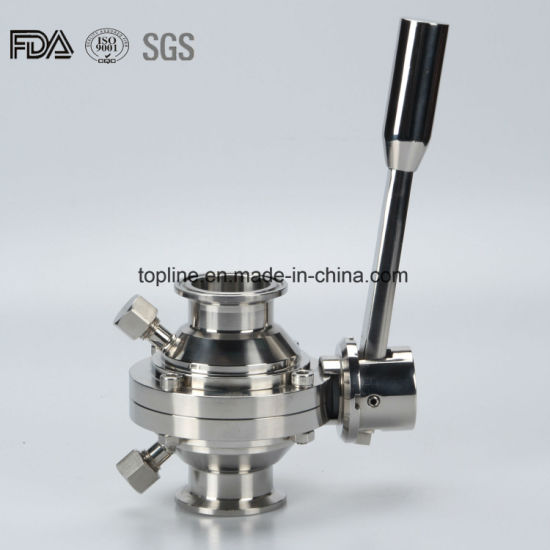 Stainless Steel Sanitary Butterfly Type Ball Valve with Drain Outlet