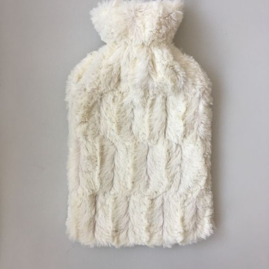 Pure White Colour Plush Rabbit Fur Cover for Rubber Bag