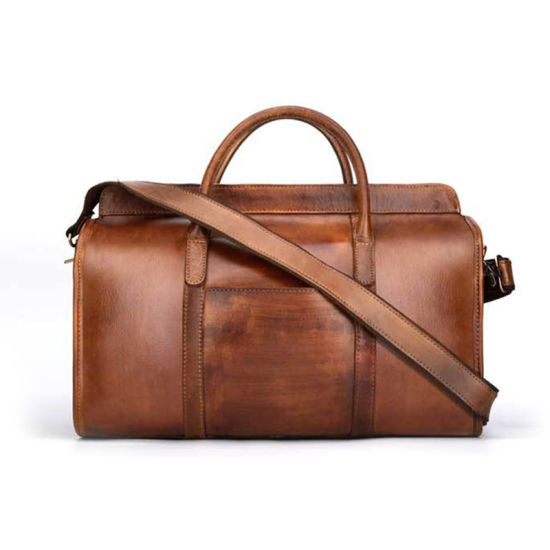 Manufacturer Price Good Quality Brown Top Grain Leather Duffle Bag for Business Traveling pictures & photos