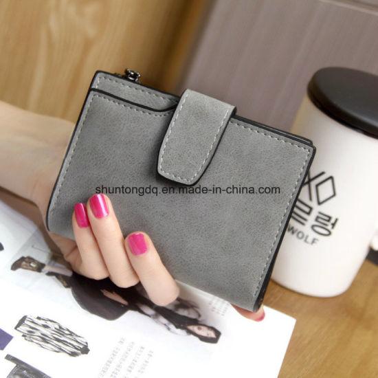 Lady Letter Wallet Zipper Short Clutch Solid Vintage Matte Women Wallet Fashion Small Female Purse Short Purse