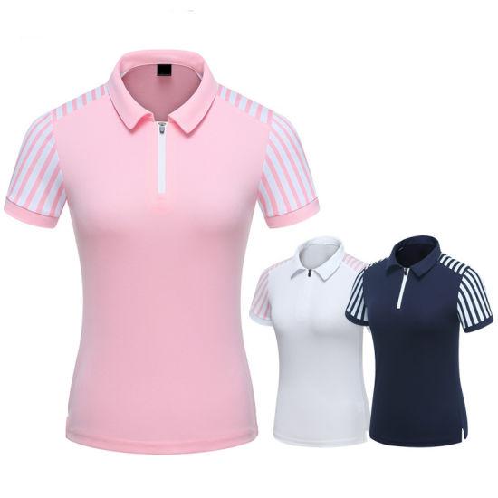 Custom Women Fashion Zipper Dry Fit Golf Polo Shirt Professional Manufacturer High Quality