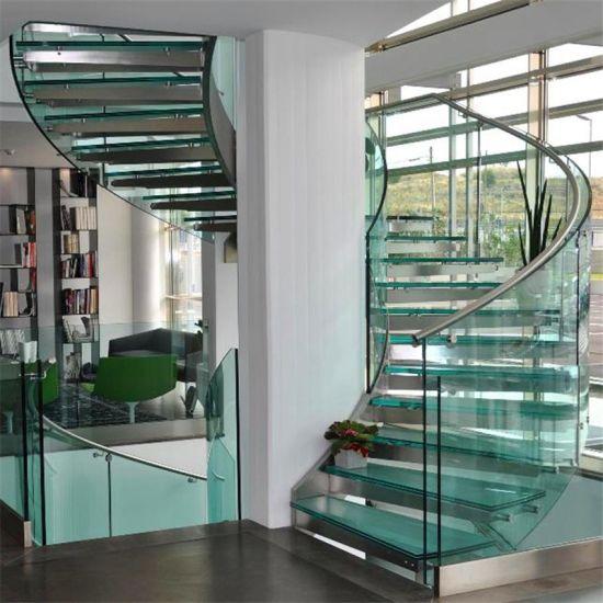 Modern Design Indoor Metal Stringer Curved Staircase for Sale