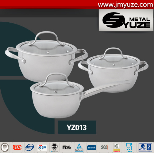 6PCS Cookware Set, Angle Shape, Impact Bottom for Induction, Stainless Steel Kitchen Utensils