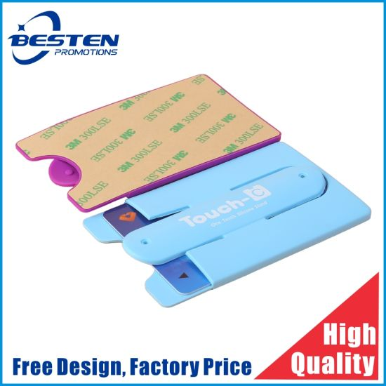 Custom Printed Logo 3m Sticker Silicone Mobile Phone Card Holder Adhesive Cell Phone Stand Credit Card Holder