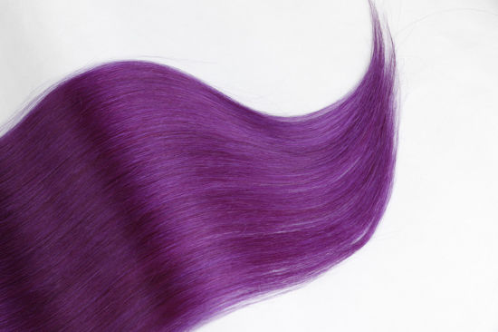 Last Long Time Remy PU Hair Extensions Silky 14inch Purple Color pictures & photos