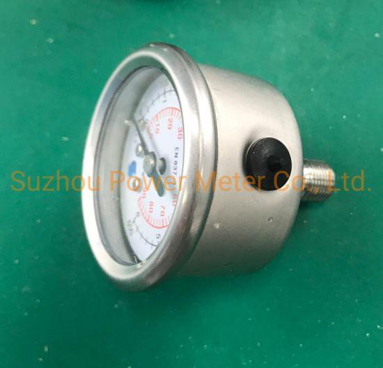 China SS316 Pressure Gauge 6bar 90psi 900kpa Triple Scale Bar/Psi