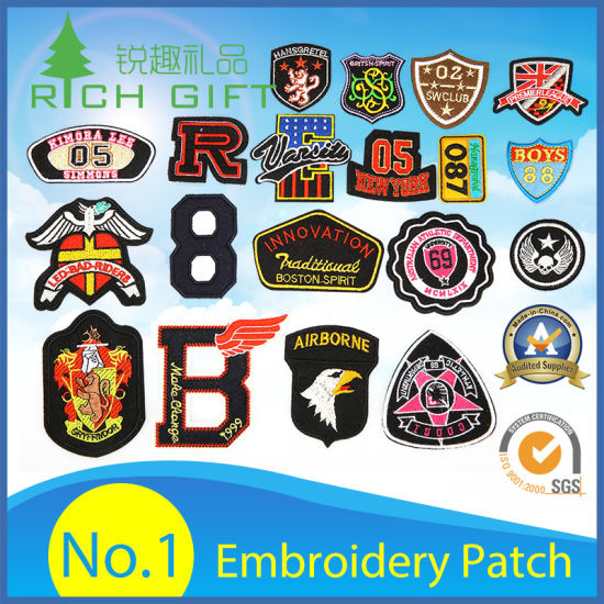 Promotion Custom Military 3D Logo Garment Label Fashion Woven Fabric Embroidered Badge Embroidery Patch for Clothing