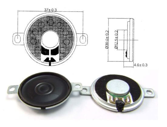 30mm 8ohm 1W Binaural Mylar Micro Speaker with RoHS pictures & photos