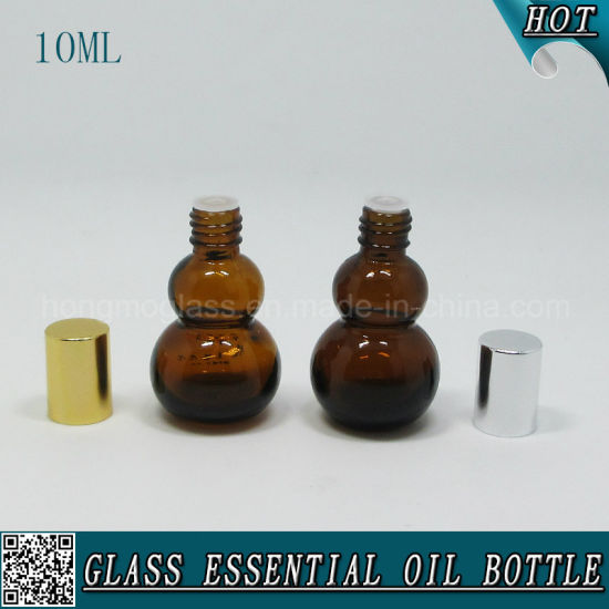 10ml Amber Gourd-Shaped Glass Essential Oil Bottle with Aluminum Cap pictures & photos