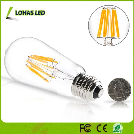 St64 Dimmable Warm White 2W 4W 6W 8W Edison LED Filament Bulb Light pictures & photos