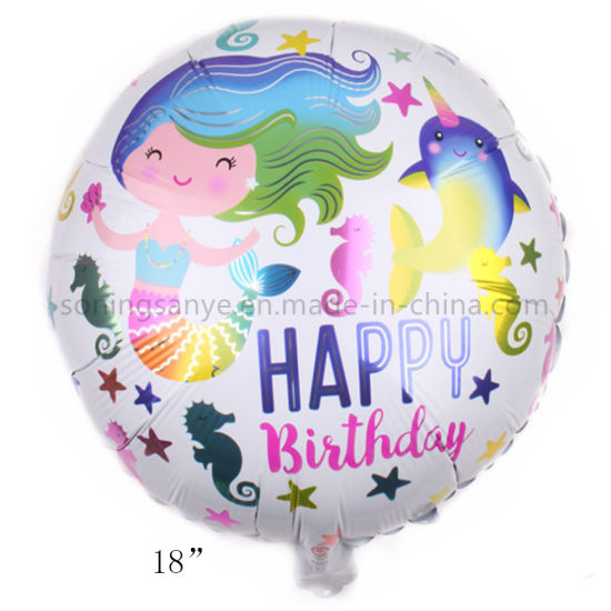 Dto0254 New Design 18 Inch Mermaid Happy Birthday Foil Helium Balloon for Baby Girl Birthday Party Decoration