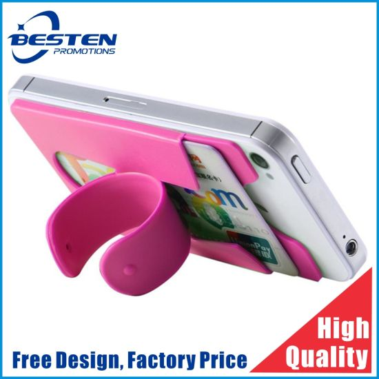 Custom 3m Silicone Cell Phone Credit Stand Card Holder