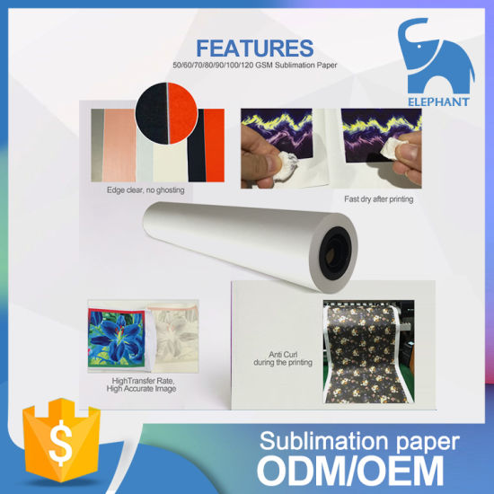 Guangzhou Sublimation Transfer Tacky Paper 44 Inch Roll pictures & photos