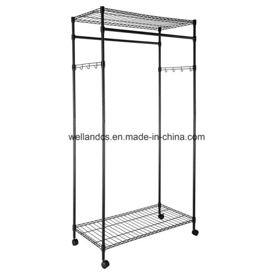 DIY Space Save Steel Clothes Wardrobe Rack with Wheels pictures & photos