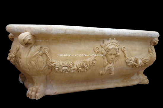 Yellow Marble Carving Stone Bathtub (BTB302)