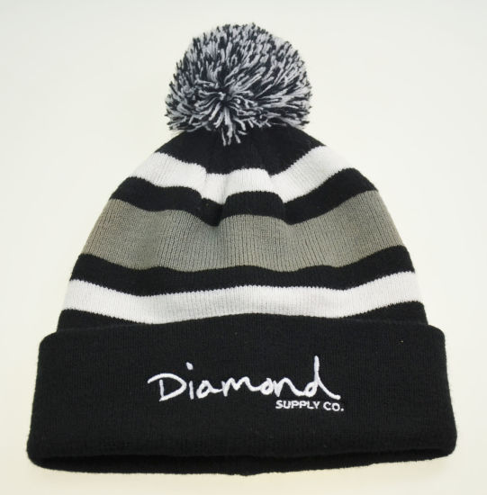 Flat Embroidered Rolled up Jacquard Beanie Hat with POM POM