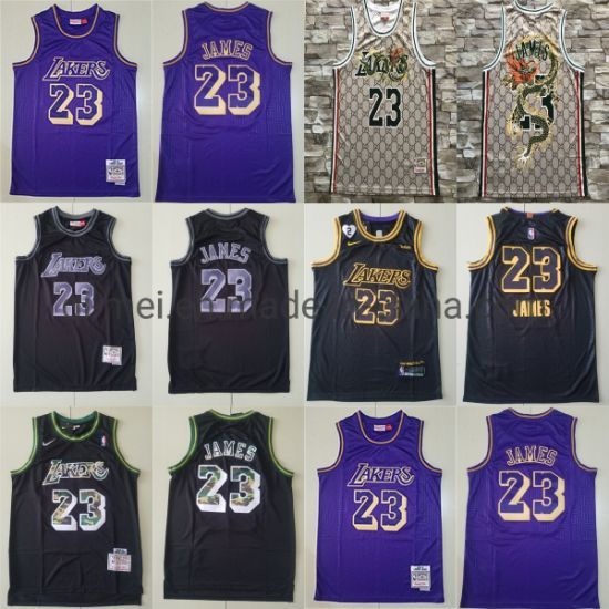 2020 Newest Lakers 23 L-Ebron James Throwback Sublimated Basketball Jerseys