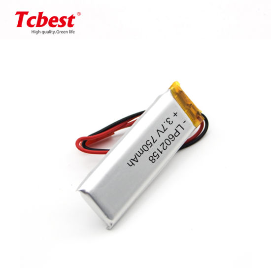High Performance Lipo Battery 602158 3.7V 750mAh Rechargeable Lithium Polymer Battery for GPS
