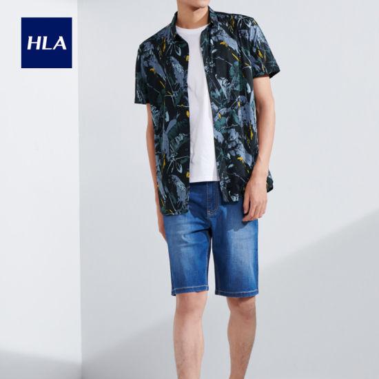 Hla Animal Pattern Knitted Men's Retro Shirt 2020 Summer New Mercerized Cotton Short Lining Men