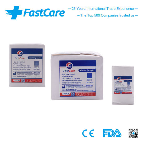 Fastcare Ce, ISO and FDA Non Sterile Gauze Pads