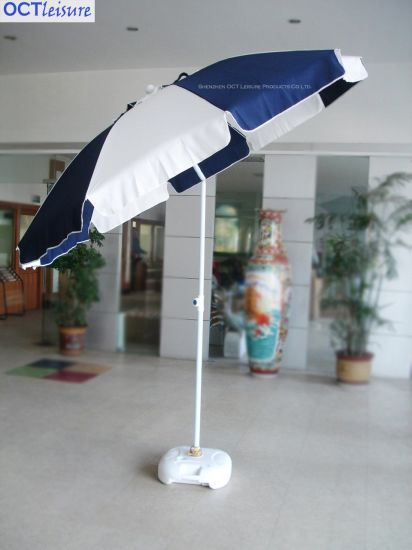 Strong Type Beach Outdoor Parasol with Thick Cover in White and Blue (OCT-BUSTU06)