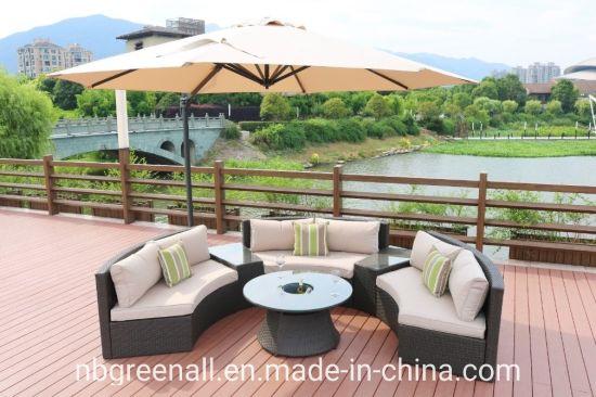 Update New Design Half Round Outdoor Garden Rattan Sofa Furniture