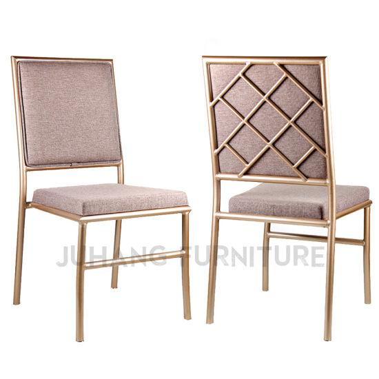 Popular Design Stackable Aluminum Cross Back Banquet Wedding Chair (HM-M054)