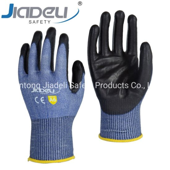 BSCI Certified Manufacturer Custom Logo Personal Hands Safety 15 Gauge Blue A6 Shell, Black PU on Palm