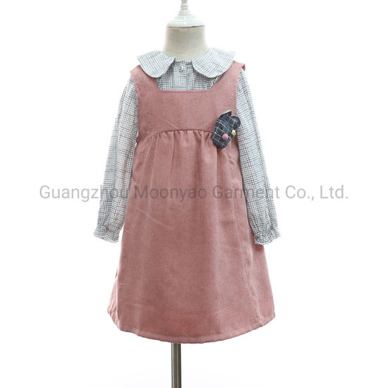 Girls Plaid Shirt Blouse with Sleeveless Dress Two-Piece Suit for Kid Wholesale Clothes