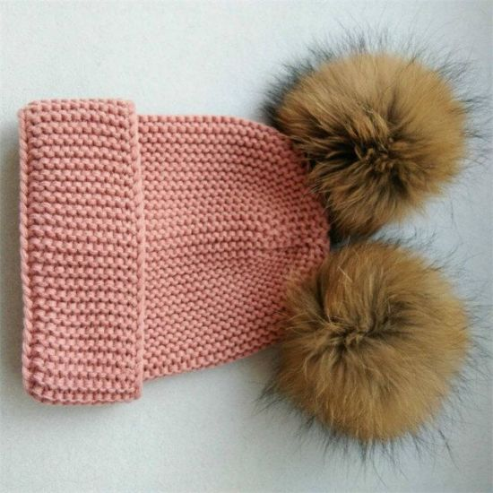 Hot Selling 100% Acrylic Beanie with Fur POM Hats