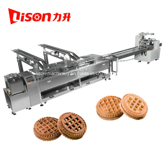 Automatic Double Lane Biscuit Sandwich Machine with Flow Packaging Machine