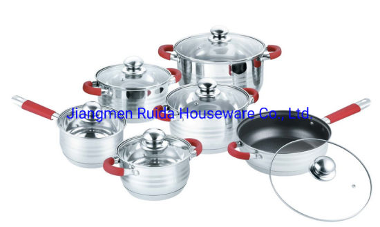 12PCS Stainless Steel Cookware Set with Red Silicone Handle in Glass Lid