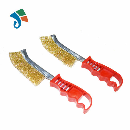 Plastic Handle Cleaning and Polishing Brass Abrasive Wire Brush for Grinding pictures & photos