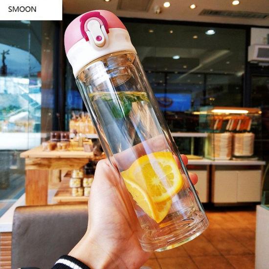 2020 Hot Sale 500ml Promotional Custom Logo Drinking Glass Water Bottle with Screw Cap