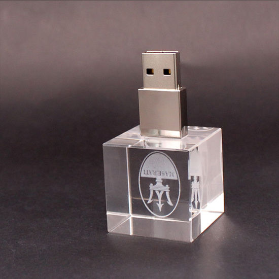 Hotest Square Base Crystal USB Stick Waterproof USB Flash Drive with LED Light (UL-C004)