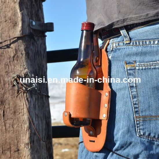 Genuine Leather Beverage Can Holster Case Beer Bottle Holder