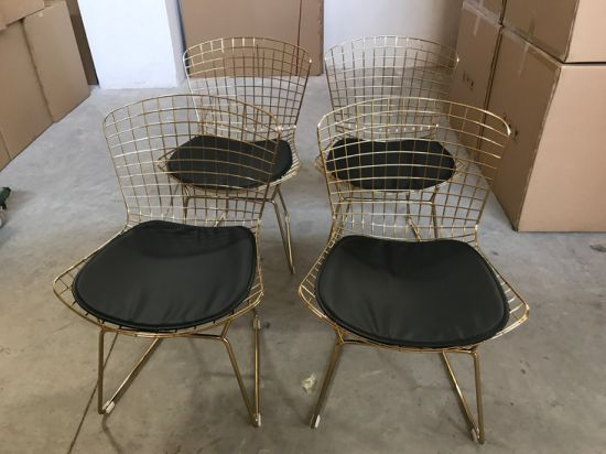 china replica design gold metal frame cafe dining chairs with black