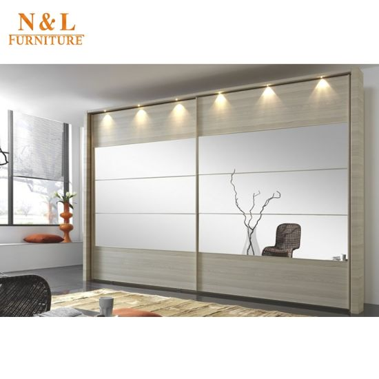N & L Simple Design Wooden Wardrobes with Sliding Door pictures & photos