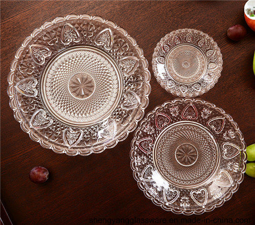 Hot Sell 3PCS Glass Tablerware Fruit Glass Plate pictures & photos