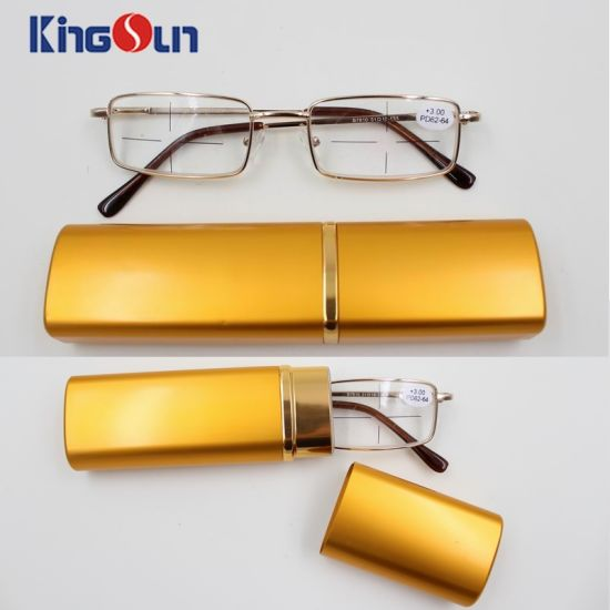 Metal Reading Glasses with Square Case