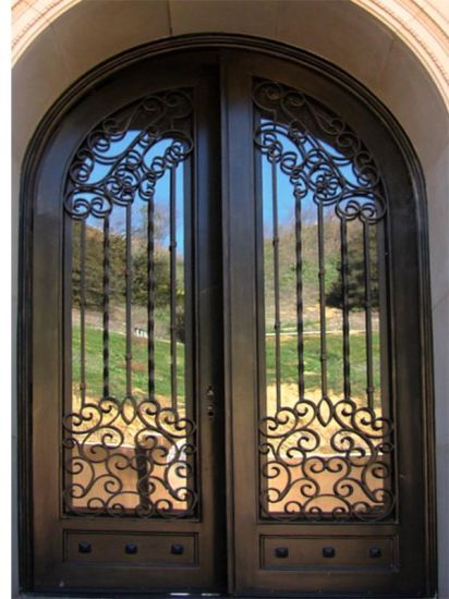 China Front Door With Wrought Iron Design With Low E Glass China