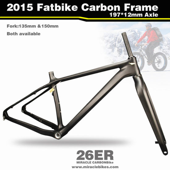 135mm 26er Fat Bicycle Fork FULL Carbon Thru Axle UD Matt Tapered Tube Disc