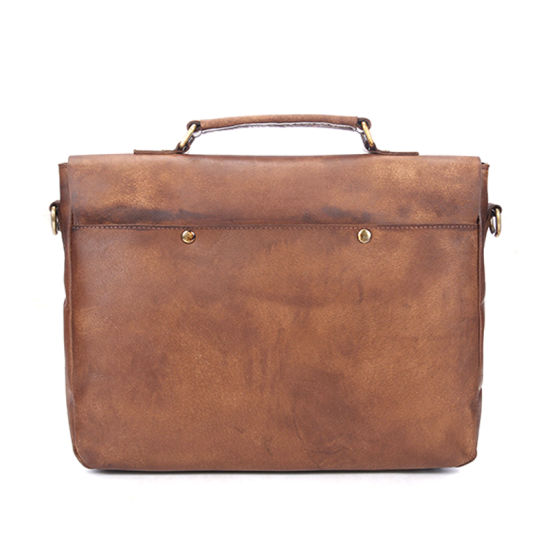 New Arrival Vintage Style Brown Leather Shoulder Bag Laptop Bag Leather Briefcase for Men pictures & photos