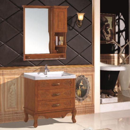 Oak Carved Wood Bathroom Cabinet/ Antique Style Brown Bathroom Furniture a-03