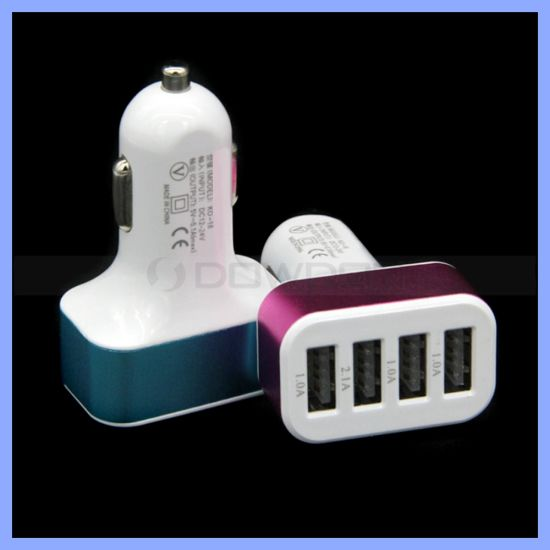 Universal 4 USB Port Output Car Charger Adapter for iPhone 6 6s Plus 5s iPad Samsung Smartphones