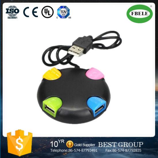 Round USB Hub Splitter Splitter One with Four USB2.0 High Speed Hub