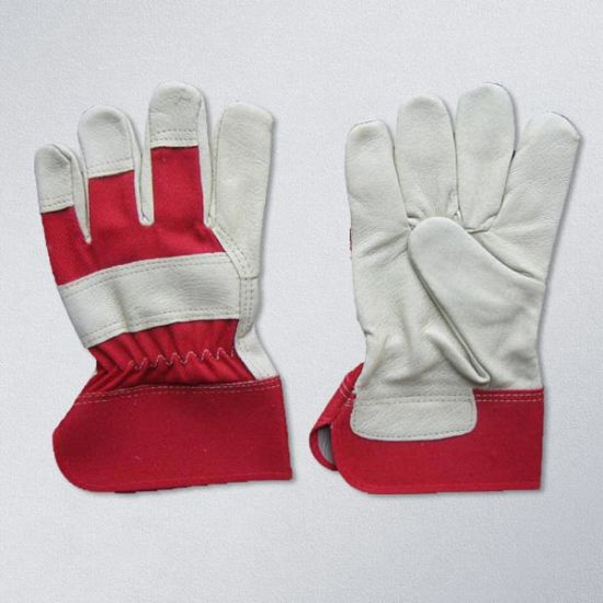 Pig Grain Leather Red Cotton Fabric Full Palm Leather Working Glove (3510)
