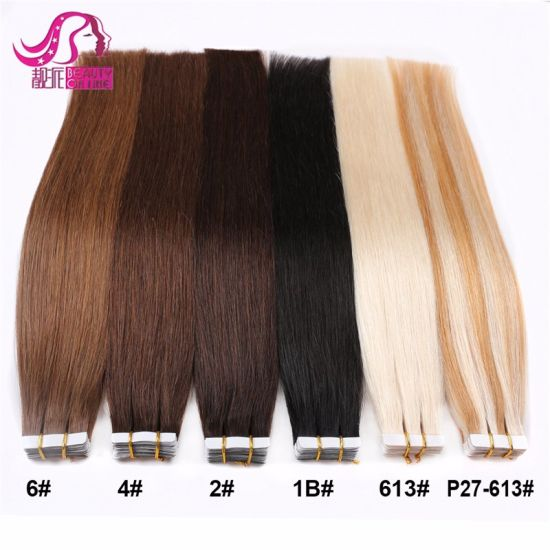 Wholesale Price 12--28inch 100% Human Hair Blue White Invisible Tape in Double Drawn Remytape Hair Extension pictures & photos