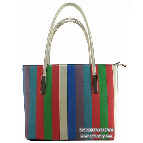 Korean Fashion Handbag Color Collision Stripes Tote Bag with Small Size  Bags Sh361